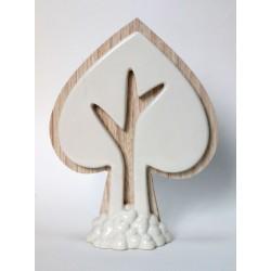 Albero forma cuore in legno e porcellana. CM 11x3 H 15