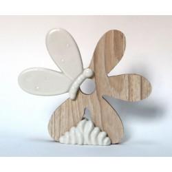 Fiore legno e porcellana bianca. CM 10x2 H 9