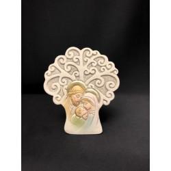 Albero resina con Sacra Famiglia colorata. H 7