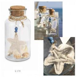 Bottiglietta vetro con tappo sughero e decorazioni marinare. H 17