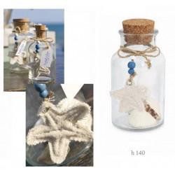 Bottiglietta vetro con tappo sughero e decorazioni marinare. H 14