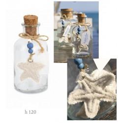 Bottiglietta vetro con tappo sughero e decorazioni marinare. H 12