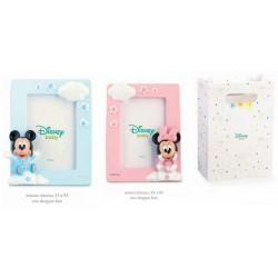 Portafoto resina Disney con Minnie e Topolino, rosa o azzurro con shopper. CM 9x12 EST - CM 5.5x8.5 INT