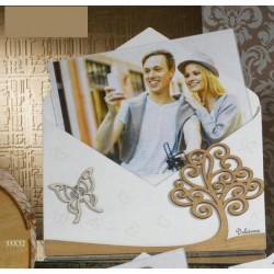 Portafoto forma lettera in legno e plexiglass con scatola. CM 33x32 MADE IN ITALY