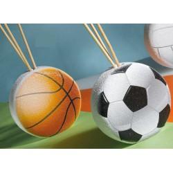 Profumatore resina forma palla basket o calcio, con scatola pvc porta confetti interna e con scatola. CM 8x7.5 MADE IN ITALY