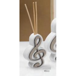 Profumatore resina e legno forma chiave di violino con scatolina pvc porta confetti e scatola. CM 9x5.5 MADE IN ITALY