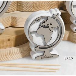 Profumatore resina e legno forma globo con scatola, profumo interno e scatolina pvc porta confetti. CM 8x6.5 MADE IN ITALY