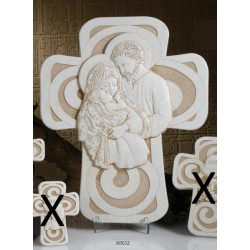 Croce resina con immagine Sacra Famiglia da appendere con scatola. CM 39x32 MADE IN ITALY
