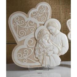 Immagine resina Sacra Famiglia da appoggio con scatola. CM 34x33 MADE IN ITALY