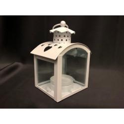 Lanterna metallo e vetro con traforo cuori. CM 7x8 H 12