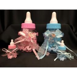 Biberon contenitore con 10 biberon plastica decorati all'interno, rosa o azzurro. H 23