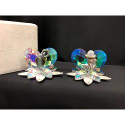 Cuore cristallo boreale su base vetro fiore con placca immagine sacra e scatola. CM 6