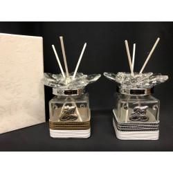 Profumatore vetro e cristallo con applicazione nastro pelle e placca, con scatola. CM 4.5x4.5 H 7