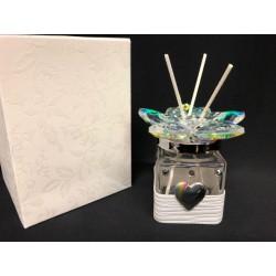 Profumatore vetro e cristallo boreale con applicazione nastro pelle e placca arcobaleno, con scatola. CM 4.5x4.5 H 7