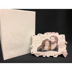Icona resina con placca argento Sacra Famiglia colorata con scatola. CM 8.5x6