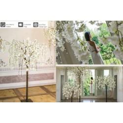 Albero ciliegio bianco con 84 luci LED da interno. H 170