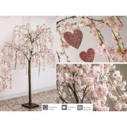 Albero ciliegio rosa con 84 luci LED da interno. H 170