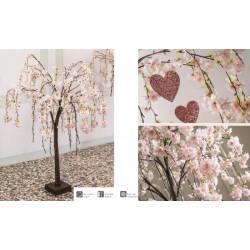 Albero ciliegio rosa con 66 luci LED da interno. H 120