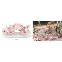 Base con fiori rosa da allestimento. CM 56.5x21