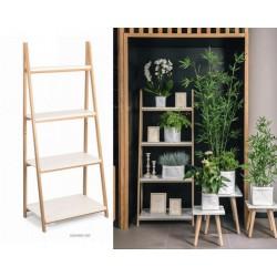 Espositore a scaffale con 4 ripiani, bianco e legno. CM 62x40 H 150