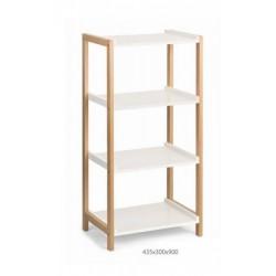 Espositore a scaffale con 4 ripiani, bianco e legno. CM 43.5x30 H 90
