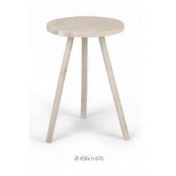 Sgabello legno sbiancato naturale. Diam 45 H 67