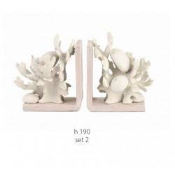 Set due fermalibri resina e legno con coralli e ricci di mare. H 19