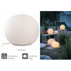 Lampada ceramica rigata con cavo, per uso esterno ed interno. Diam. 41.5x36