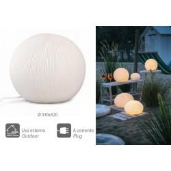Lampada ceramica rigata con cavo, per uso esterno ed interno. Diam. 33x32