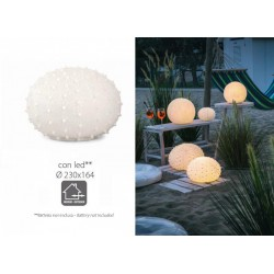 Lampada ceramica riccio di mare con luce LED, per uso esterno ed interno. Diam. 23x16