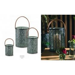 Set 3 lanterne verdi con manico cuoio. Diam. 15.5-25.5 H 19.5-35