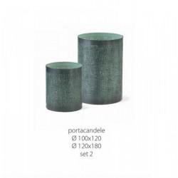 Set 2 portacandele verdi in metallo. Diam. 10-12 H 12-18