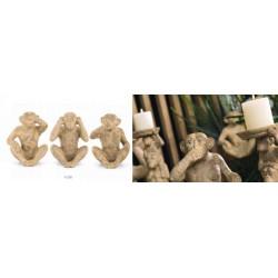 """Scimmia seduta color tabacco, """"Non vedo"""", """"Non sento"""", """"Non parlo"""". Ass 3. H 25"""