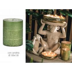 Vaso vetro verde con candela. Diam. 10 H 13