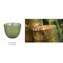 Vaso vetro verde con candela. Diam. 13 H 10