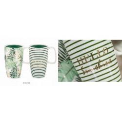 Tazza mug ceramica con coperchio. Ass 2. Diam. 9 H 14.8