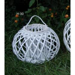 Lanterna vimini con portacandela interno vetro e manico. H 30