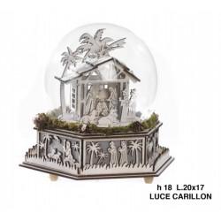 Bolla vetro con presepe in legno, luce e carillon. CM 20x17 H 18