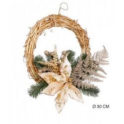 Ghirlanda oro con decorazioni natalizie. Diam 30