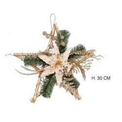 Stella oro con decorazioni natalizie. H 30