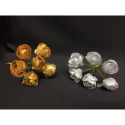 Mazzo 6 rose oro o argento lame Diam. 2