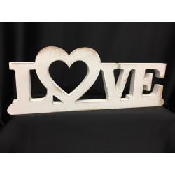 """Scritta legno bianca """"LOVE"""". CM 39.5 H 15"""