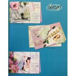 Biglietto auguri per matrimonio con fiori. Ass 3. CM 12x17