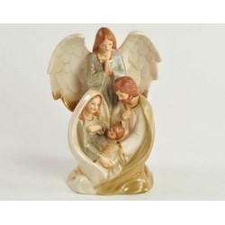 Sacra Famiglia con angelo in porcellana. CM 16