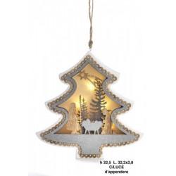 Appendino legno con Sacra Famiglia forma albero, con luce. CM 32.5x2.8 H 32.5