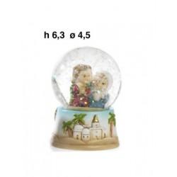 Sfera vetro con presepe interno in resina. H 6.8