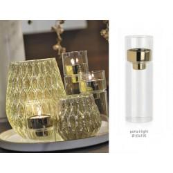 Porta t-light in vetro con interno oro. Diam. 6.5 H 19