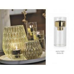 Porta t-light in vetro con interno oro. Diam. 6.5 H 14.5