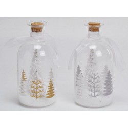 Bottiglia vetro con albero nevato interno e luci LED. Ass 2. Diam. 8 H 17