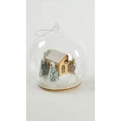 Appendino sfera vetro con casetta in legno con luci. Diam 12